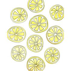 Lemon Slices Art Print ($23) ❤ liked on Polyvore featuring home, home decor and wall art