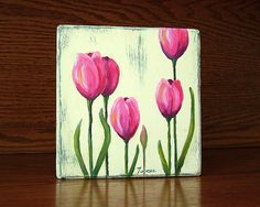 Bright Pink Tulips Original Oil Painting Free by WoodArtBlocks