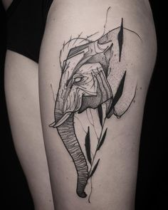 blackwork elephant thigh tattoo by @_matteo_gallo_