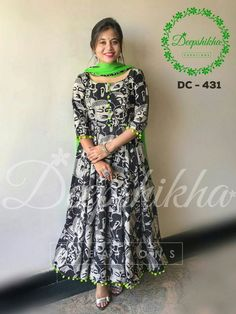 DC Beautiful floor length anarkali dress with pom pom hangings.For queries kindly WhatsApp : 9059683293 29 October 2017 Kurta Designs Women, Kurti Neck Designs, Dress Neck Designs, Salwar Designs, Kurti Designs Party Wear, Blouse Designs, Chudithar Neck Designs, Chudidhar Designs, Kalamkari Dresses