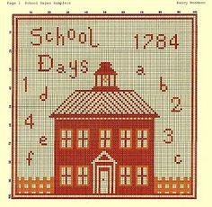 School House cross-stitch - free