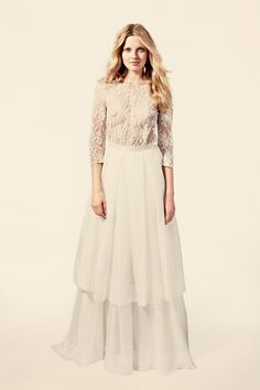 Vestidos de noiva com duas peças de Delphine Manivet. #casamento #vestidodenoiva #saia #2em1