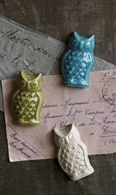 Ceramic owl magnets