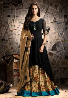Lehenga choli is unique way, mostly worn at any events. Grab this fascinating faux georgette black long choli lehenga. Long Choli Lehenga, Indian Lehenga, Silk Lehenga, Floral Lehenga, Indowestern Lehenga, Pakistani Dresses, Indian Dresses, Indian Outfits, Indian Clothes