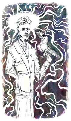 "Nikola Tesla 5"" x 7"" Illustration Ink Art Print #LemonWatercolor #NikolaTesla #Illustration"