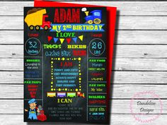 Trains trucks first birthday chalkboard poster trains and