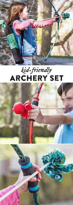 "Made in the USA archery sets created by two young brothers. The puffy-not-pointy ""arrows"" are a safer—and more lighthearted—way to play and learn archery."