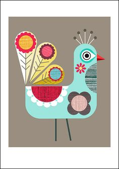 Folk peacock bird, retro print, Ellen Giggenbach