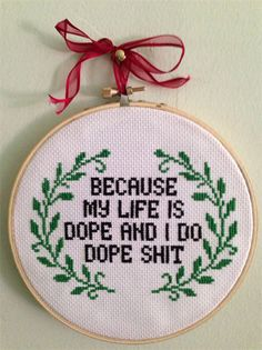 No reason! Look away. The 20 Rudest Cross Stitch Phrases | Paste magazine