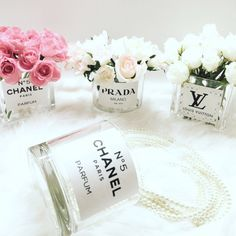 Chanel flower vase diy designer by LuxuryDecors on Etsy Diy Flowers, Flower Vases, Chanel Decoration, Party Decoration, Chanel Flower, Chanel Party, Home Decoracion, Glam Room, Home And Deco