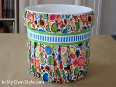 Fabric covered trash can using paint buckets.  Paint-Bucket-and-Fabric-Cov