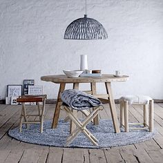 dining with Bloomingville ⭐️ Mix different stools and create a personal look ⭐️ #bloomingville #nordic #interior #style #elmwood #table #stool #fur #rattan #lamp #jersey #quilt #cushion #tableware #denim #rug #love #living