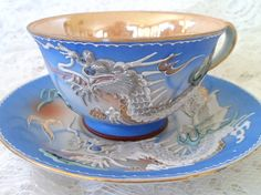 Occupied Japan DRAGONWARE porcelain CUP SAUCER luster ware  Etsy. |Pinned from PinTo for iPad|