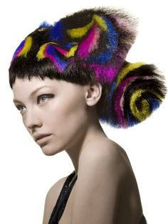 "UK Hairdresser of the Year, master stylist Angelo Seminara for Trevor Sorbie, ""Sushi Collection"" Creative Hairstyles, Unique Hairstyles, Uk Hairdressers, Hair Stenciling, Angelo Seminara, Creative Hair Color, Avant Garde Hair, Glamorous Hair, Fantasy Hair"
