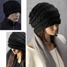 Amazon.com: SODIAL(TM) Winter Black Oversized Cable Knit Baggy Beanie Slouch Hat Unisex Fashion: Toys & Games