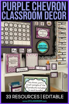 Purple classroom decorations, teal classroom decor, or purple classroom themes…all refer to this bright colorful bundle for teachers on a budget. Purple Classroom Decor, Classroom Color Scheme, Diy Classroom Decorations, Classroom Setting, School Decorations, Elementary Classroom Themes, Elementary Music, Classroom Ideas, First Grade