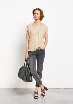 Buy Metallic V Tee from Hush: Cut from lightweight linen and finished with  a subtle metallic shimmer, our semi-sheer metallic v tee is our new summer  ...