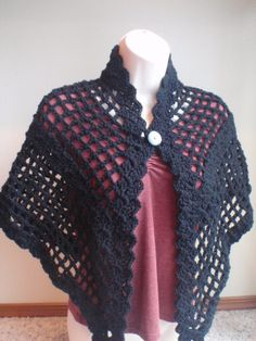 Black Lace Triangle Shawl Scarf with Double Button by Spasojevich, $29.99