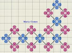 Maria Gomes : Os Meus Gráficos de Ponto Cruz Cross Stitch Borders, Counted Cross Stitch Patterns, Pixel Art, Floral, Diy And Crafts, Owl, Kids Rugs, Embroidery, Knitting