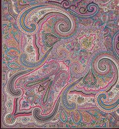 Elite purple lilac Russian Pavlovo Posad Wool by russianicon Paisley Art, Paisley Design, Paisley Pattern, Paisley Color, Textile Prints, Textile Design, Fabric Design, Pattern Design, Ethnic Patterns