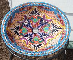 Talavera Mexico Ceramic 17 X 14 Medium Drop In Sink Hand Painted Kiln Fired  BLUE