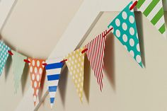 #WhereIsYoungAmerica #Playroom DIY Pennant Banner from our Harbor Town collection Design Guide (aka: catalog)