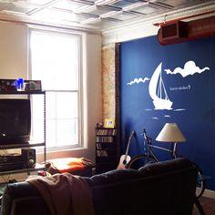 ウォールステッカー 夏の季節のデコレーション ヨットと雲 ウォールステッカー ヨットと雲の販売ページです。夏を楽しく涼しい気分にしますよ~ウォールステッカー 夏の季節のデコレーション ヨットと雲