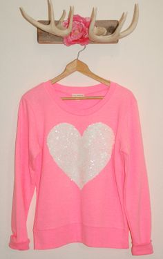 "The ""Dazzle Barbie"" Sweatshirt -  Sequin Heart Sweatshirt Valentine's Day Sale"
