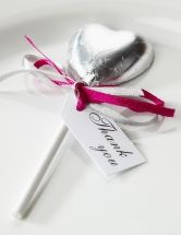 Heart Shaped Lollipops - Delicious belgian chocolate heart lollipops with foil wrappers in gorgeous colours