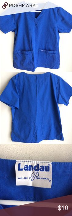 Blue scrub top Cute solid color scrub top for your clinical! Size fits a xsmall or small. Landau Other