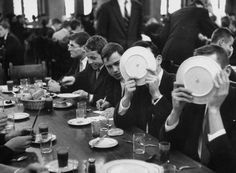 College Boys, 1954      Students having lunch at Hotchkiss Prep. School, boys hiding faces are embarrassed because they told college girls on a date that they were students at Princeton.
