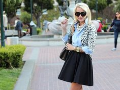 Top: Haute Hippie. Sweater: BR. Shoes: Zara. Skirt: Blaque Label. Purse: Chanel. Sunglasses: House of Harlow. Jewelry: David Yurman, Michael Kors, Pomellato, BR, GAP, YSL.