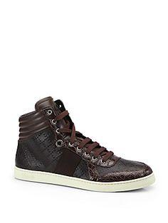 Gucci Crocodile High-Top Sneakers