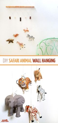 Make an adorable animal wall hanging for the kids room or nursery! Turn toy animals into beautiful playroom decor - and when your'e ready to redecorate, it can be repurposed as a toy! Love this safari animal kids bedroom decor idea - it's such an easy DIY decor craft! (ad)