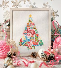 Fun Christmas tree design as featured in Cross Stitcher magazine issue 310 (October Cool Christmas Trees, Christmas Tree Design, Christmas Cross, Xmas Tree, All Things Christmas, Blackwork Embroidery, Cross Stitch Embroidery, Cross Stitch Patterns, Cross Stitch Kitchen