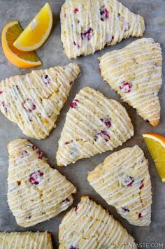 Add a seasonal spin to a breakfast favorite with light and tender Glazed Orange Cranberry Scones loaded with fresh fruit. Breakfast Crepes, Savory Breakfast, Breakfast Dishes, Cranberry Recipes, Orange Recipes, Sweet Recipes, Delicious Breakfast Recipes, Delicious Desserts, Dessert Recipes