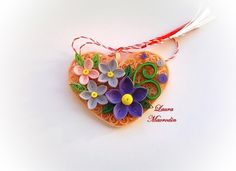 quilling heart and flowers