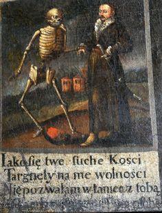 """,,Taniec Śmierci"""" - barokowa wizualizacja ,,memento morii"""". Obraz znajduje się w klasztorze w miejscowości św. Anna. Jest to XVIII replika XVII - wiecznego malowidła znajdującego się w klasztorach franciszkanów w Krakowie.  / https://www.facebook.com/photo.php?fbid=1317755788235029&set=ms.c.eJxFzNENwCAMA9GNKpxgO9l~%3BsUpQ6O~_T7pCwSXv2gNoPFggBqjL6A5oLpAu9E16oiuT4k9IGHOhaj5kvmhIYFw~-~-.bps.a.1317755648235043.1073741927.100000018616032&type=3&theater"""