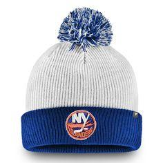 90df9ea3ad352 Men s New York Islanders Fanatics Branded White Depth Cuffed Knit Hat with  Pom