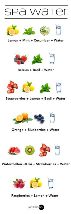 Stay hydrated! Adding stuff like fruits, vegetables, and herbs to your water makes it easier and fun to drink up! #spawater #h2o