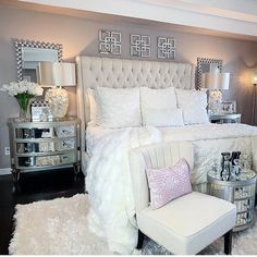 The way you decorate your home is somehow similar to choosing beautiful clothes to wear on a daily basis. An impressive interior decoration of your home or office is essential for your own state of mind, if nothing else. Glam Bedroom, Home Decor Bedroom, Bedroom Ideas, Cute Room Decor, Dream Rooms, Luxurious Bedrooms, My New Room, Beautiful Bedrooms, Home Interior Design