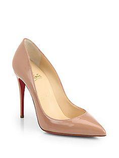 Size 7.5.... $675... BLACK.....Christian Louboutin Pigalle Follies Patent-Leather Pumps