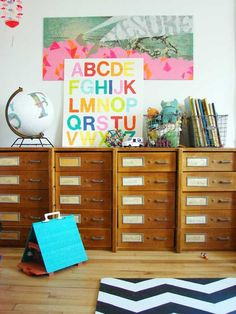 Would be cool to find drawers like this. Like the use of wire baskets and the alphabet print on top. How Now Design