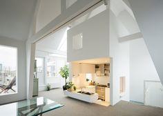 Apartment in Amsterdam featuring a sunken kitchen.