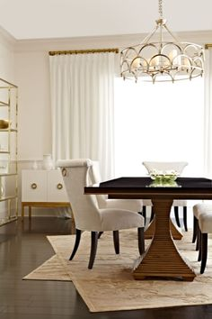 #HPMKT Sophisticated dining room table and glamorous dining chairs from @Bernhardt Furniture Jet Set Furniture Collection | Saxon Henry