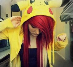 Scene hair and pikachu Dye My Hair, Your Hair, Protective Styles, Red Scene Hair, Scene Girls, Emo Scene, Indie Scene, Emo Girls, Hair Girls