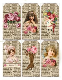 Some Rose themed tags for you.  Thank you Lilac and Lavender for the bookpage…