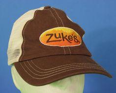 Zukes Snapback Cap Hat Mesh Adjustable White Brown Orange One Size  # #BaseballCap