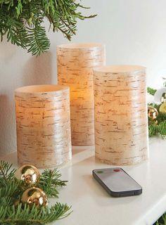 Birch Texture 3 pc LED Pillar Candle Set