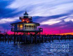 Choptank River Lighthouse At Dusk , Cambridge Maryland - by Nick Zelinsky